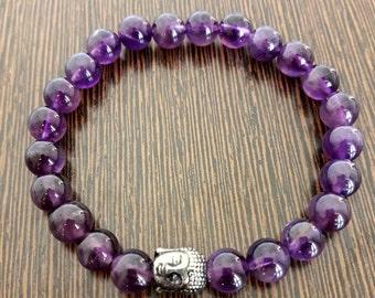 Genuine Reiki Charged Amethyst Bracelet With Buddha