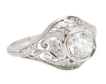 Engagement Ring Diamond Vintage Art Deco Platinum EGL Certified Old European Cut