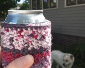 Crocheted Beer Bottle/Can Cover/Cozy -- Raspberry Snow