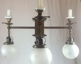 Arts Crafts 4 Gas and 4 Electric Light Chandelier