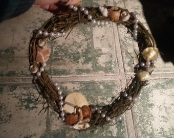 Grapevine sea shell and pearl wreath
