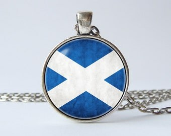 Flag of Scotland necklace Scottish jewelry Scottish pendant Scottish flag Scotland jewelry Flag gift Flag necklace Flag pendant Blue White