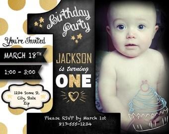 Custom 1st Birthday Invitation Digital Download
