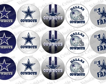 "Dallas Cowboys Bottlecap Images, 1"" Circle Images, 4x6 Collage Sheet, Football Images, Craft Graphics, Football, Craft Supplies"