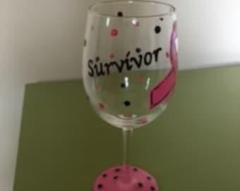 Breast Cancer Survivor Wine Glass