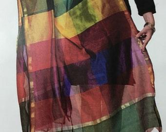 Multicolored striped chanderi cotton dupatta, zari woven design along the border and tassels along the ends ..