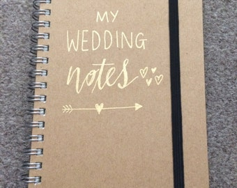 A6 personalised wedding planning Kraft notebook