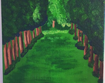 Woods path 6x9 acrylic painting on canvas.