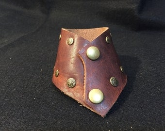 Handmade leather chevron cuff
