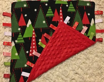 """Christmas Tree Ribbon Tag Blanket for Baby 18"""" with Coordinating Ribbons"""