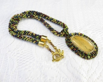 Green Bead Crochet Necklace, Yellow Mookaite Embroidery Pendant, Multi Color Bead Crochet Rope Necklace, Mookaite Necklace, Yellow