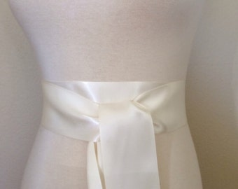 Off White Satin sash 2.25 inch wide Double faced satin sash. Satin Bridal sash. Simple sash. Bridesmaid sash