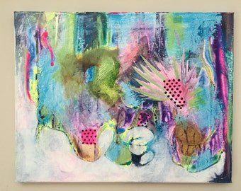 """Love Is, SMALL original ABSTRACT painting, acrylic on canvas, 14""""x11""""x.75"""" whimsical, vibrant, original painting, blue, pink, purple, neon"""