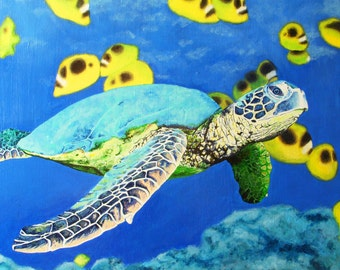 Fine Art Print Greeting Card - Seaturtle