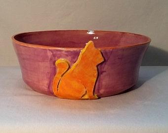 Orange Tabby Cat Purple Food/Water Dish