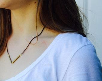 The Kaia  // Minimal Brass Angle Necklace