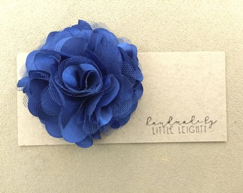 Royal blue floral hair clip - 3.5in