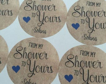 From my Shower to Yours, Wedding Favors, Wedding Favor Stickers, Baby Shower Favors, Custom Stickers, Wedding Shower, Wedding Stickers