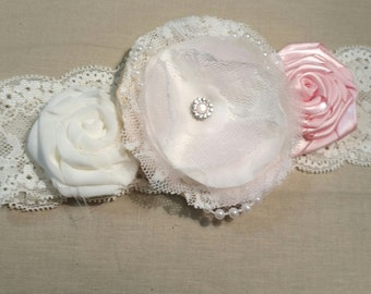 Vintage style, shabby-chic hair accessory in soft pink and ivory