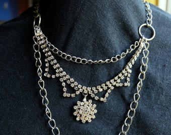 Chain and rhinestone necklace