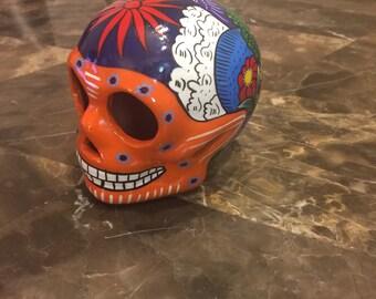 Dia De Los Muertos Ceramic Skull - Vintage