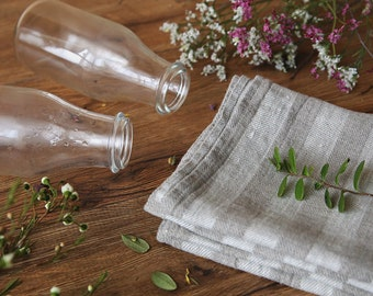 Tea towel,linen towel, striped linen,kitchen towel, hand, face towel softened Flax ,Towels Gift idea,リネンティータオル