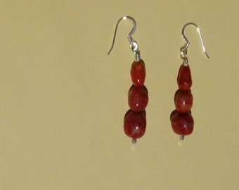 Red coral nugget dangle earrings