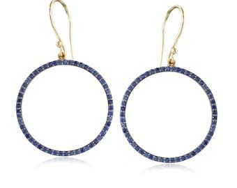 blue Sapphire gemstone handmade Drop and dangle 92.5 silver & 14K Gold gemstone earrings