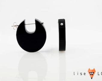 Black Laser Cut Plexiglas Earrings Black Diamond 001