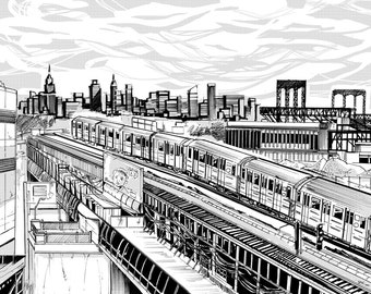 "NYC Train, Landscape Print - ""Time is 7 Train"""