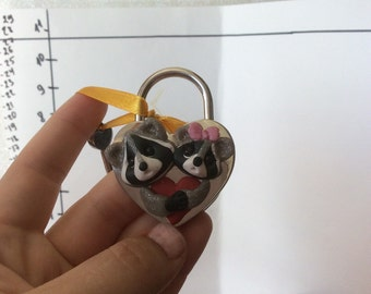 Lock of Love Raccoons perfect couple gift