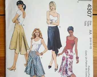 McCall's 4307 Skirt with Front & Back Yokes with Godets Misses' Size 6-8-10-12