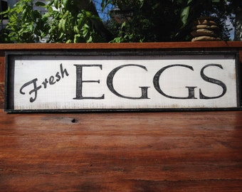 Country Farmhouse Vintage Inspired Hand Painted FRESH EGGS Wood Framed Sign LARGE