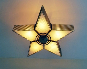 Mid Century Eames Era Art Deco Virden Atomic glass Star Ceiling Fixture Lamp