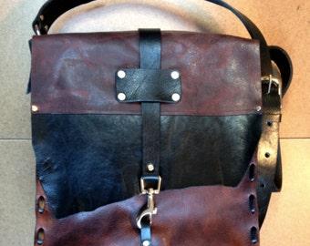 black & brown leather bag