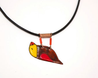 Enamel Pendant, Enamel Necklace, Enamel Jewelry, Bird Pendant, Claret Bird Necklace, Bird shaped Necklace, Boho Necklace,