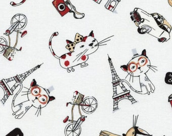 Timeless Treasure Paris Cats C3720 So Cute 100% cotton fabric by the yard,g72