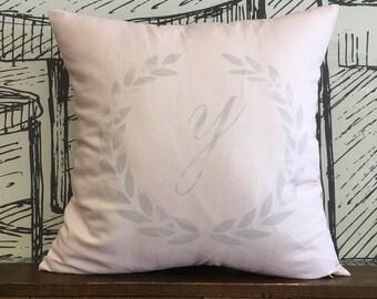 Laurel Wreath and Letter Y Decorative Cushion Cover, Home & Living, Home Decor, Alphabet J E Decorative Pillow Cover, LinenCotton