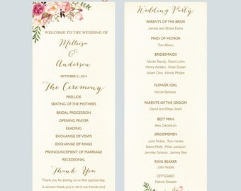 Printable Wedding program Flat template card,Floral  Script Tea Length Wedding Ceremony Editable Text INSTANT DOWNLOAD Microsoft WordF3