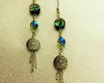 Abalone and Silver Earrings
