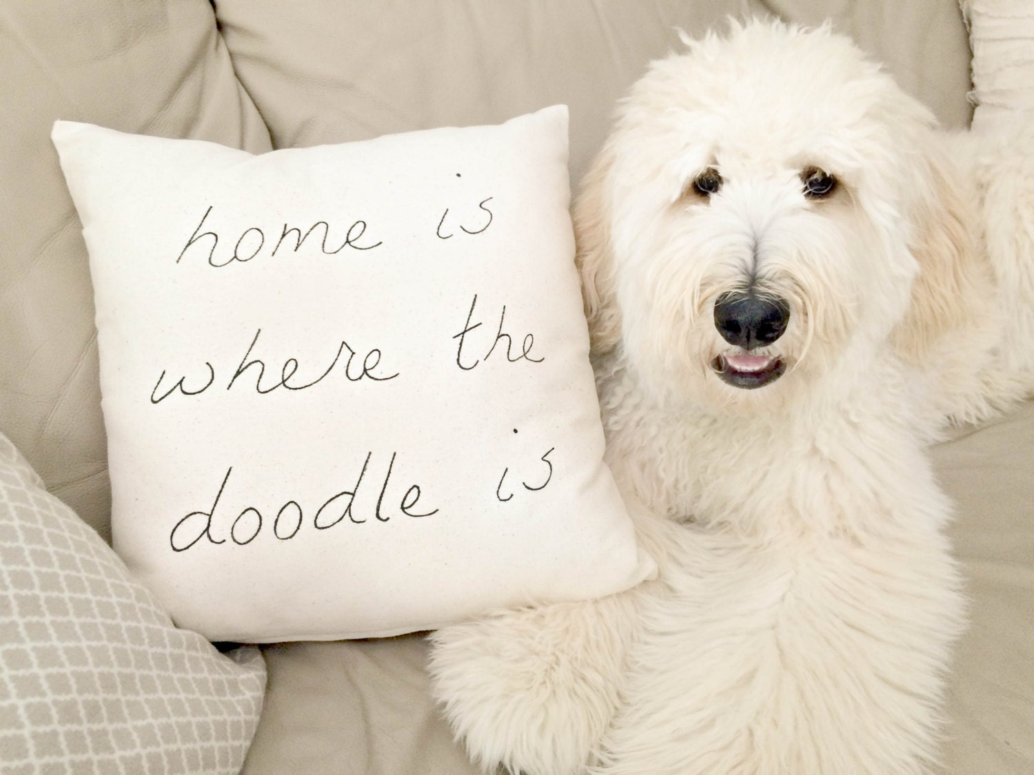 Scrapbook paper dogs - Home Is Where The Doodle Is Pillow Case