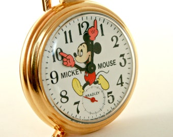 Vintage Mickey Mouse Train Pocket Watch by Bradley