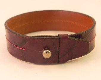 Crocodile printed leather bracelet