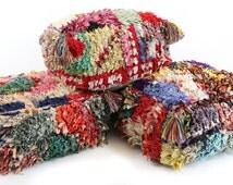 Small Moroccan Boucherouite Pouf, Floor Cushion, Rug Pouffe, Vintage Pouf, Floor Pillow