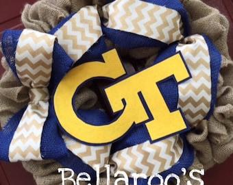 Georgia Tech Yellow Jackets ACC Football custom burlap wreath Rambling Wreck