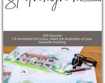 Gift voucher for 1 x minimalist, full colour, hand drawn, black ink illustration of your favourite home.