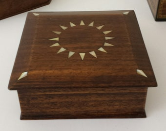 Wooden Jewelry Box, Jewelry Box, Wooden box, Jewelry Storage, Mother of Pearl, Keepsake Box, Wood Inlay Art, Wooden Decor, Marquetry wood