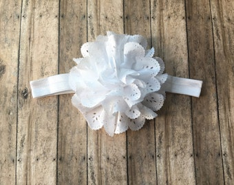 White headband- white flower headband-big flower headband- flower headband-babyshower gift