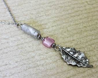 Antique Silver and Glass Bead Leaf Necklace