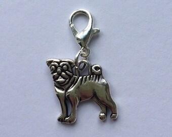 Pug Stitch Marker/Progress Keeper/Zipper Pull/Charm